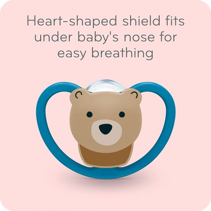 NUK Space Orthodontic Pacifiers / Soother Months Teddy Bird (2 pcs)