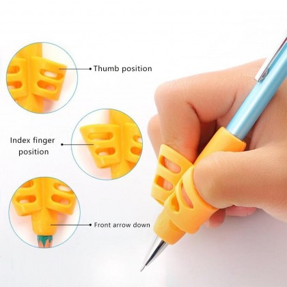 Soft 3-Finger Pencil Grip Holder Children Kids Learning Writing FG
