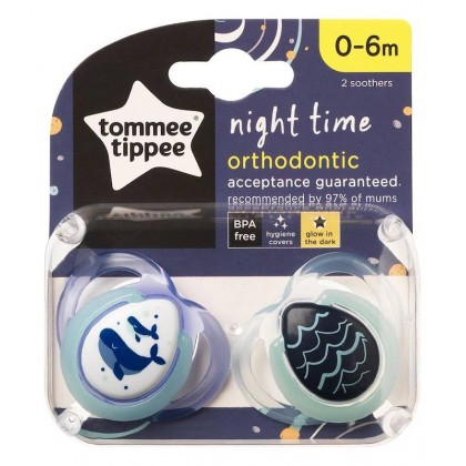 Tommee Tippee Closer to Nature  Night Time Pacifier / Soother Glow-in-The-Dark with 0-6m 2pcs/pack