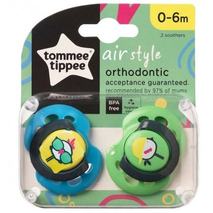 Tommee Tippee Closer to Nature AIR Style Soother with 0-6m 2pcs/pack