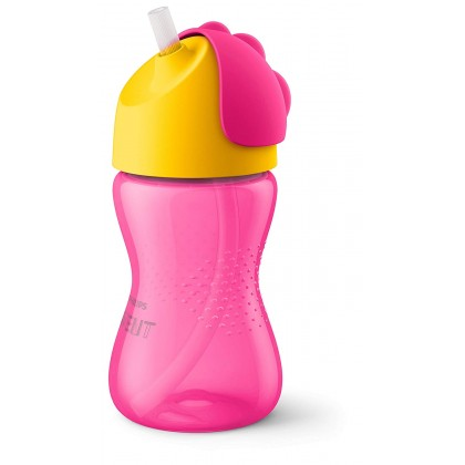 Philips AVENT My Bendy Dinosaur Straw Cup 300ml (10oz) Pink