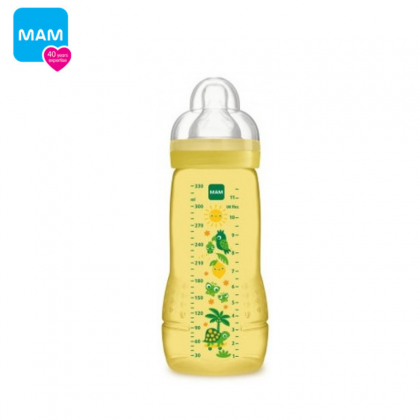 MAM Easy Active Baby Bottle 330ml (11oz) with Teat 3hole 4m+ (Blue/Pink/Ivory) SINGLE PACK